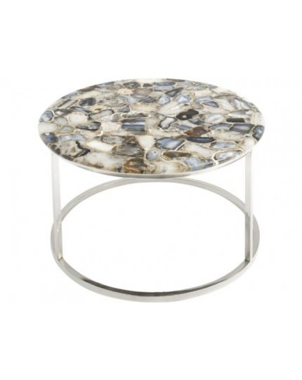 Agate Round Coffee Table On Nickle Frame